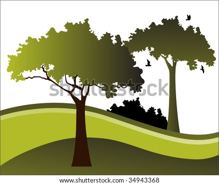 landscape with trees and birds - stock vector