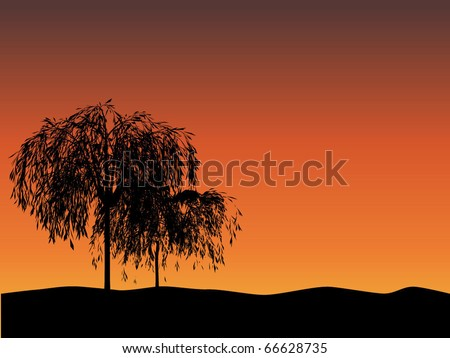 Landscape with trees (vector) - stock vector
