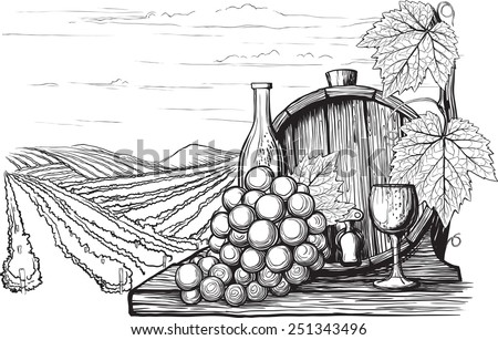 Landscape with views of vineyards, tanks for wine and grapes. in a woodcut like method - stock vector