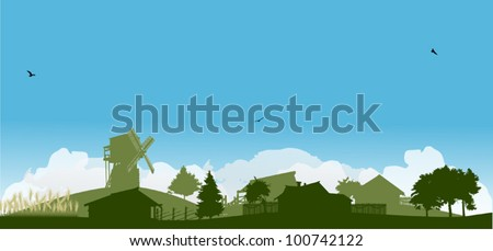 landscape with wheat and village - stock vector