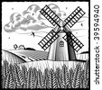 Landscape with windmill black and white. Vector - stock