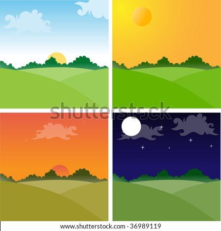 Landscapes showing day cycle. No transparencies. - stock vector
