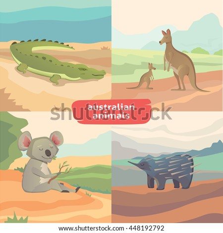 landscapes with australian animals vector isolated collection - stock vector