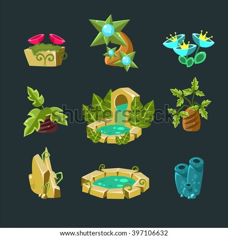 Landscpe Elements Collection For Video Game Creation In Fantasy Style Isolated Objects On Black Background - stock vector
