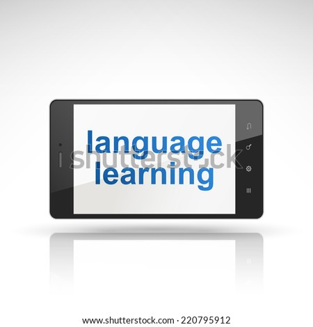 language learning words on mobile phone isolated on white - stock vector