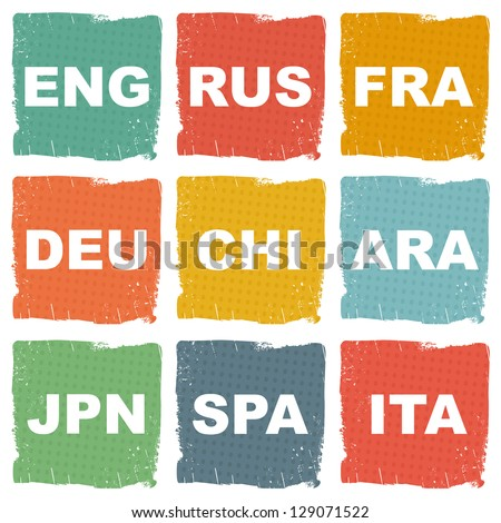languages icons - stock vector