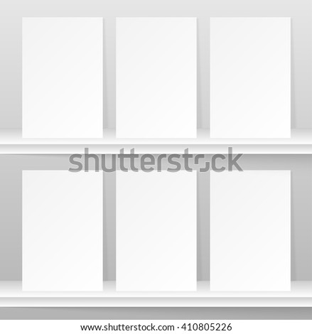 lank empty magazine or book template lying on a gray background. Set. Eps 10. - stock vector