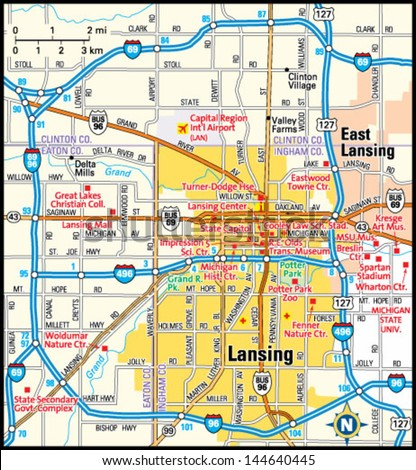 Lansing Michigan Area Map Stock Vector 2018 144640445 Shutterstock