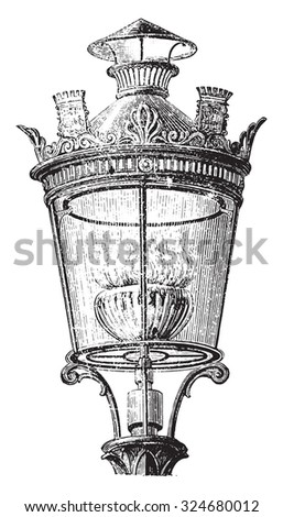 Lantern with intensive gas nozzle for lighting the streets of Paris in 1878, vintage engraved illustration. Industrial encyclopedia E.-O. Lami - 1875.