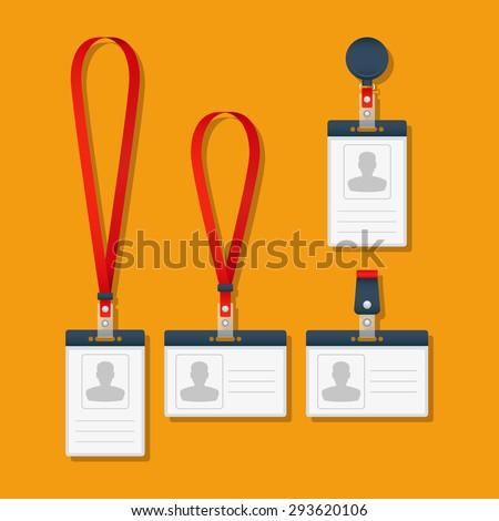 Lanyard, name tag holder and badge templates. Vector Illustration. - stock vector