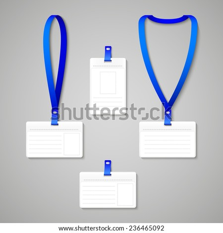 Lanyard with Tag Badge Holder isolated on gray. Vector Illustration - stock vector