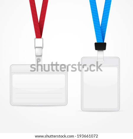 Lanyard with Tag Badge Holder. Vector Illustration - stock vector