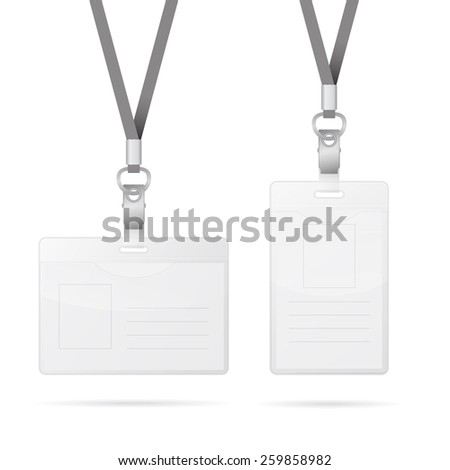 Lanyard with transparent empty vertical and horizontal tags badge holder isolated on white. Vector EPS10 illustration.  - stock vector