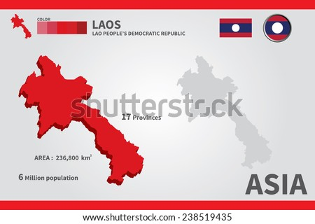 Laos flag asia world map vector stock vector hd royalty free asia world map vector illustration gumiabroncs Images