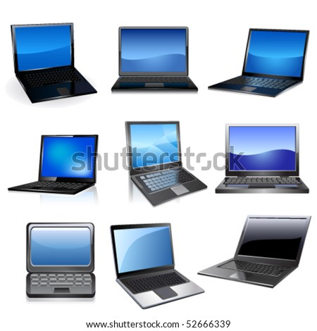 Lap top icon set - stock vector