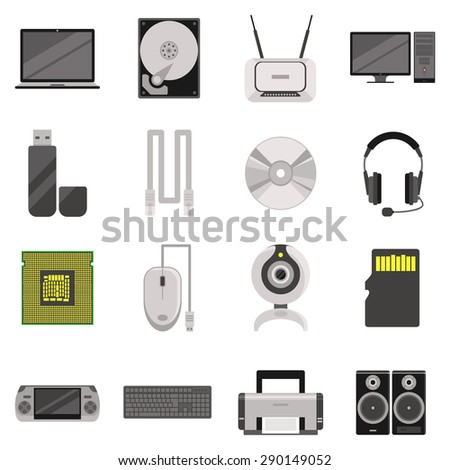 Laptop and computer with components and accessories and electronic devices flat icons set isolated vector illustration
