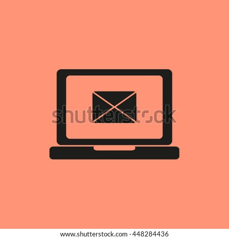 Laptop and envelope. Laptop computer displaying mail - stock vector