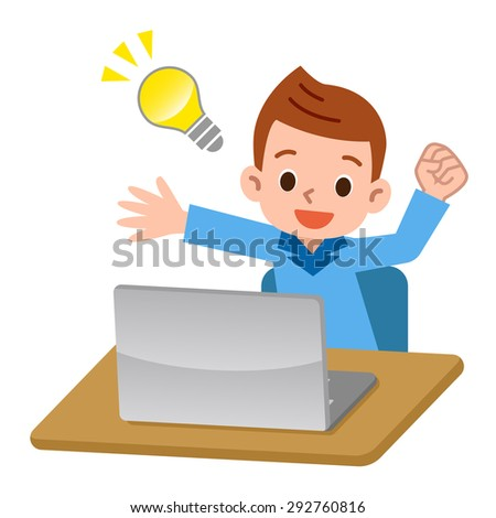 Laptop and floated man of ideas - stock vector