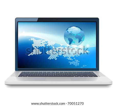 Laptop and Globe concept. Vector illustration. - stock vector