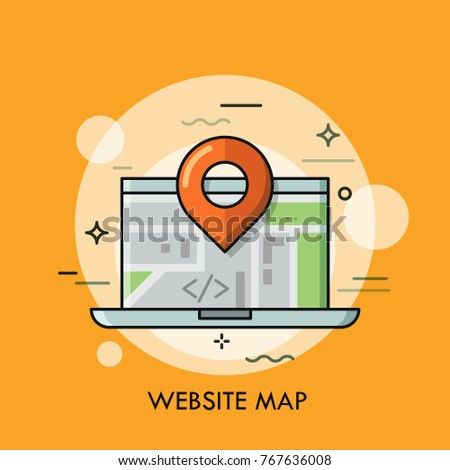 Laptop location mark concept global local stock vector 767636008 concept of global and local online interactive map road navigation sciox Choice Image