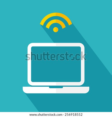 Laptop and wireless icon. Wireless concept. Flat design. Vector illustration - stock vector