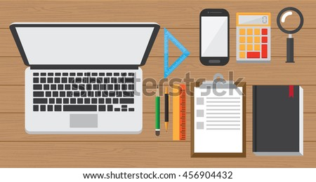 laptop and work stuff on the wood desk. smart work design concept. modern life style. vector illustration.