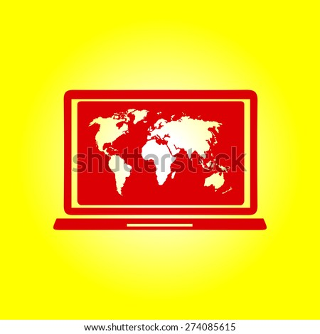 Laptop world map illustration world map stock vector 274085615 laptop and world map illustration world map geography symbol flat design style vector gumiabroncs Gallery