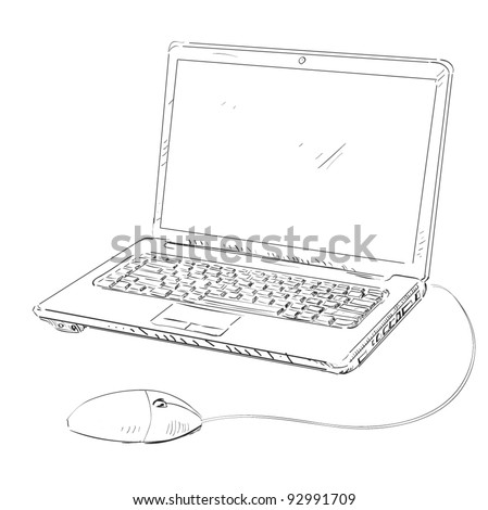 Laptop cartoon sketch vector illustration - stock vector