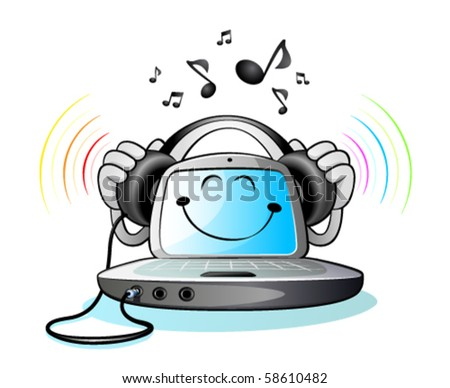 Laptop computer and Music - stock vector