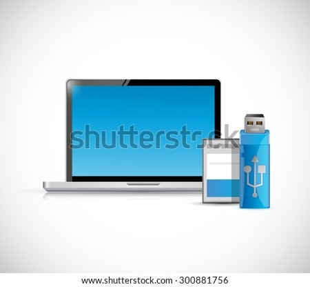 laptop computer and storage objects illustration design graphic - stock vector
