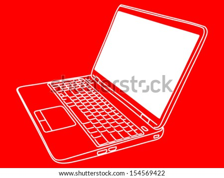 laptop computer isolated, illustration  - stock vector