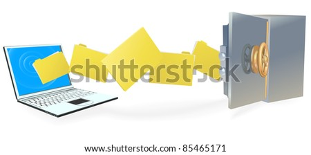 Laptop computer uploading or downloading files to secure internet server or backing up securely. - stock vector