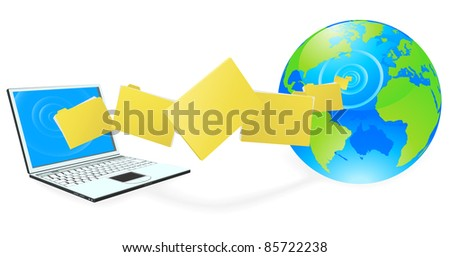 Laptop computer uploading or downloading files to the internet represented by globe. - stock vector