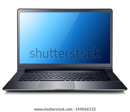Laptop computer. Vector illustration. - stock vector