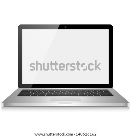 Laptop Computer with Blank Screen - Laptop computer with blank, shiny screen isolated on white background.  File is layered.  Eps10 file with transparency.  - stock vector