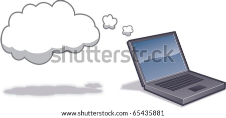 Laptop computer with cloud to indicated Cloud Computing.  Layer-separated objects. CMYK color. - stock vector
