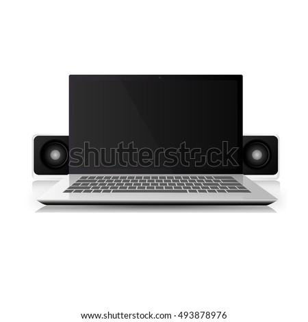 Laptop computer with portable speakers. Vector illustration