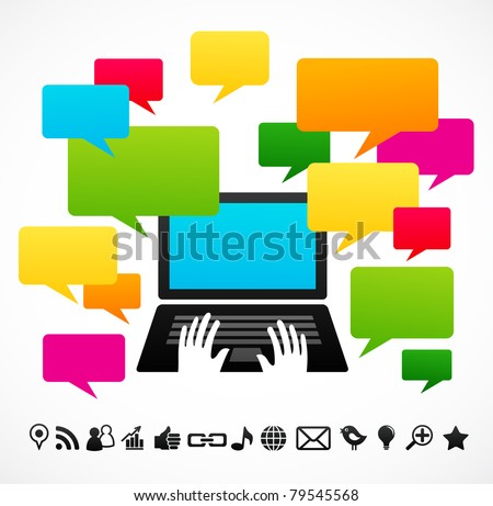 Laptop computer with speech bubbles - stock vector