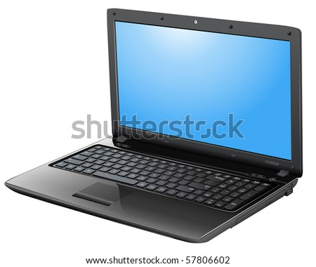 Laptop detailed, realistic vector illustration. - stock vector