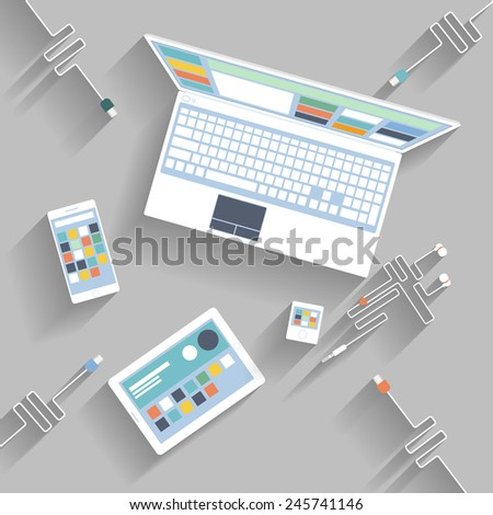 Laptop, digital tablet, smartphone with usb cables ready for connection and work flat design - stock vector