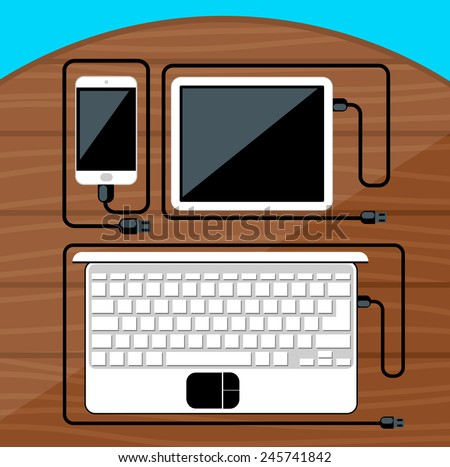 Laptop, digital tablet, smartphone with usb cables ready for connection and work on wood table flat design - stock vector
