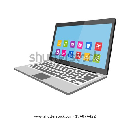 Laptop flat illustration eps10 - stock vector