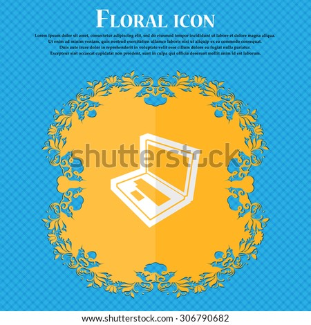 Laptop. Floral flat design on a blue abstract background with place for your text. Vector illustration - stock vector