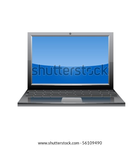 Laptop glossy icon. Vector - stock vector