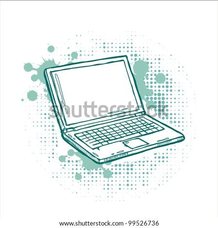 Laptop grunge background - stock vector