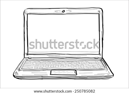 Laptop - hands sketch vector illustration - stock vector
