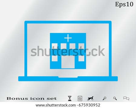 laptop, hospital, icon, vector illustration eps10