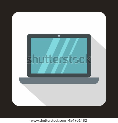 Laptop icon in flat style on a white background - stock vector