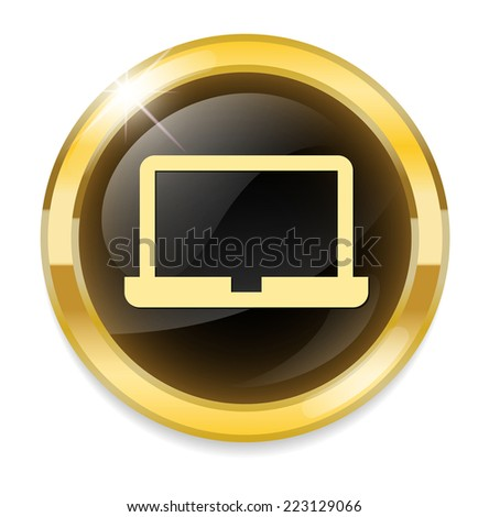Laptop Icon on Round Button - stock vector