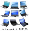 Laptop icon set - stock photo